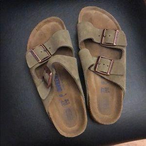 Taupe suede Birkenstock sandals